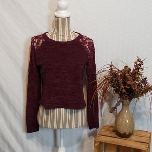 Altar'd State Maroon Sweater with Lacy Sleeves